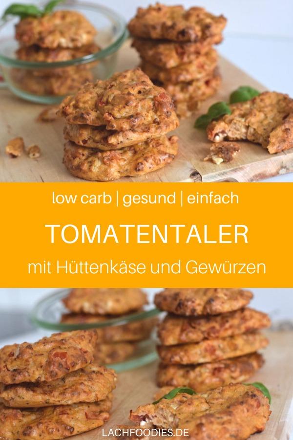 Low Carb Hüttenkäsetaler mit Tomaten und Gewürzen. Ein leckeres Low Carb Rezept für unterwegs. Low Carb Brotzeitbox. Ein einfaches Low Carb Hüttenkäse-Rezept, gesund und lecker, mit Leinmehl, Tomaten, Thymian und Eiern. Der einfache Low Carb Snack. #lowcarbrezepte #lowcarbsnack #lowcarbunterwegs #lachfoodies