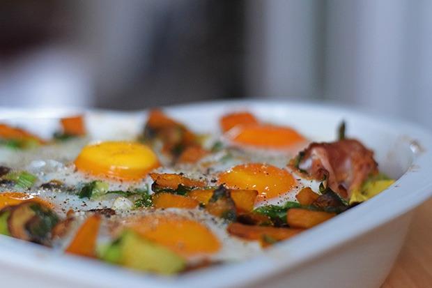 Avocado, Kürbis, Champignon und Eier