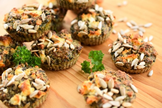 Vegetarische Low Carb Muffins mit Spinat und Nüssen | Low Carb To Go07