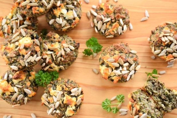 Vegetarische Low Carb Muffins mit Spinat und Nüssen   Low Carb To Go