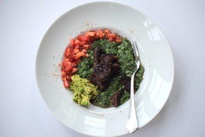 Spinat mit Rindfleisch und Avocado Foodblogger Deutschland
