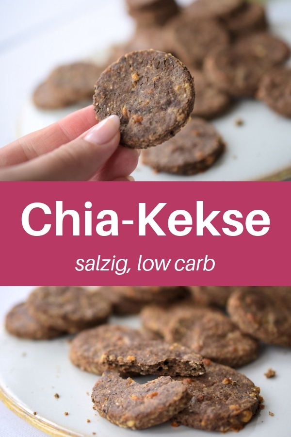 Glutenfreie Chia-Kekse ohne Kohlenhydrate, glutenfrei. Hier findest du ein Chia-Rezept für salzige Kekse, low carb, für unterwegs. Das ist ein toller Low Carb Snack für das Büro oder einen Ausflug. Gesund leben einfach gemacht. So macht gesunde Ernährung und abnehmen Spaß. Rezept gesund, Snack zum mitnehmen, Snack gesund, Snack gesund schnell. Essen ohne Kohlenhydrate.