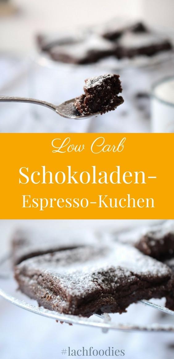 Low Carb Schokoladen Espresso Kuchen Kladdkaka Glutenfrei ohne Zucker ohne Mehl