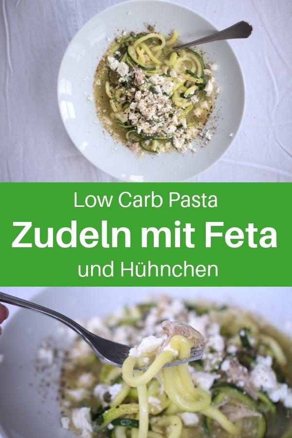 Hast du schon einmal Low Carb Nudeln probiert? Das sind Gemüsenudeln, die aus einer Zucchini hergestellt werden. Zoodles oder auch Zudeln genannt. Hier findest du ein leckeres Rezept mit Zucchininudeln. Dieses Zoodles Rezept ist mit Feta und Huhn verfeinert. Lass dir diese Gemüsenudeln schmecken. Viel Spaß beim Low Carb Abendessen. #lowcarbrezepte #lachfoodies