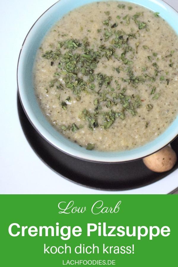 Eine cremige Pilzsuppe mit Champignons. Das Rezept von Daniel Aminati für eine Low Carb Suppe. Diese vegetarische Low Carb Suppe ist eine leckere Idee für ein Low Carb Mittagessen oder Abendessen. #lachfoodies #lowcarbrezept #gesundkochen #fitgesundundglücklich #suppe