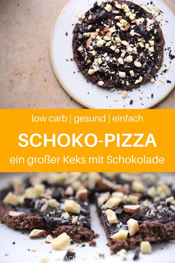 Hier findest du das Rezept für eine Low Carb Schokoladen-pizza. Eine süße Pizza ohne Zucker, ohne Mehl: Schokopizza DIY. Das Schokopizza Rezept ähnlich wie das Original, nur ohne Zucker. Low Carb Backen Rezept. Lass es dir schmecken! #lowcarbbacken #lowcarbrezept #rezept #lachfoodies #pizza