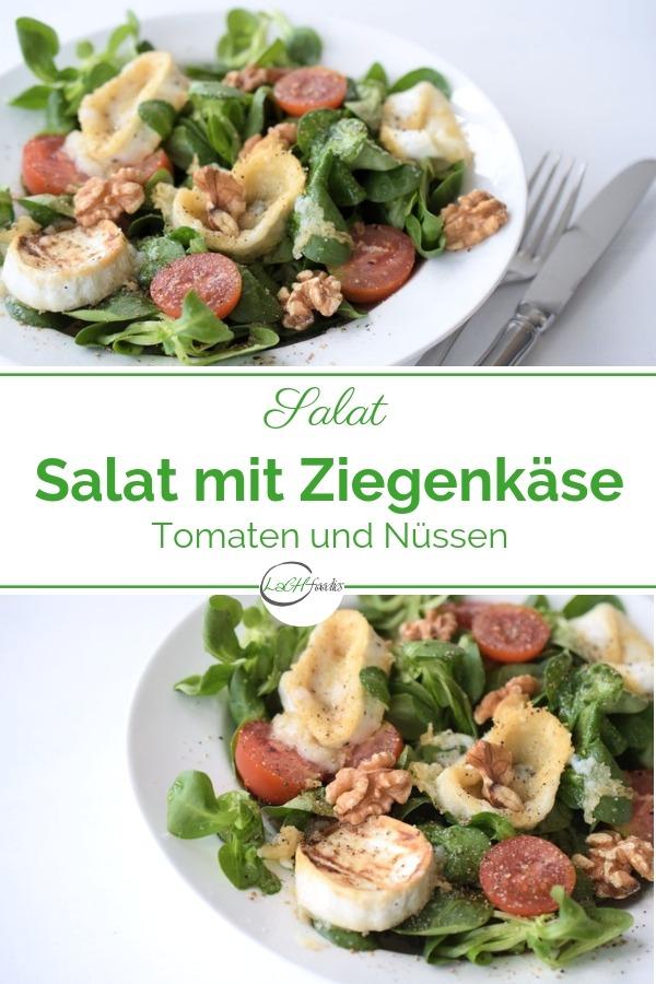 Ein würziger Feldsalat mit süßen Ziegenkäsetalern, Tomaten und Walnüssen. Ein herrlicher Low Carb Salat, der satt macht. Dieses Ziegenkäse-Rezept ist unkompliziert, gesund und dennoch ziemlich lecker. Der Ziegenkäse wird in der Pfanne erhitzt oder alternativ gebacken und währenddessen ohne Zucker gesüßt. Lass es dir schmecken! #lachfoodies #lowcarbrezept #salat #fitgesundundglücklich