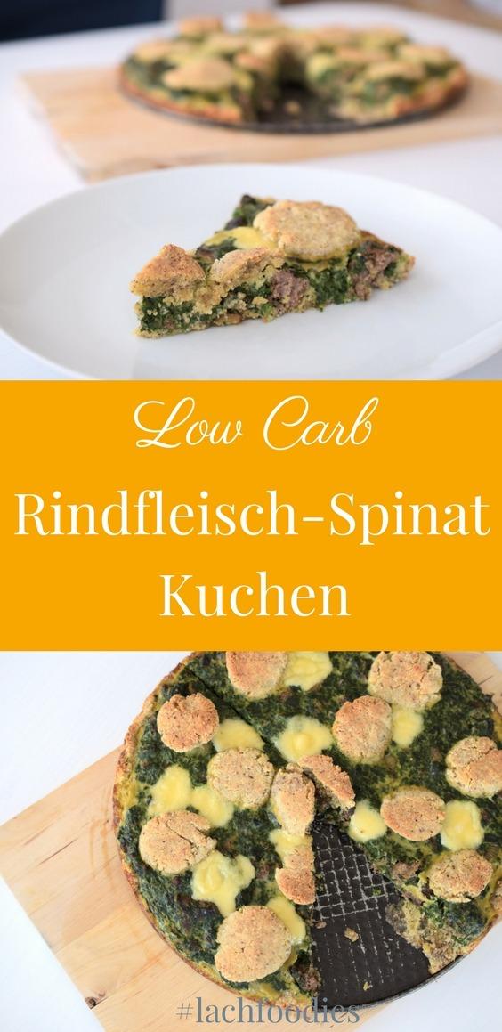 Low Carb Rindfleisch Spinat Kuchen Abendessen Mittagessen Rezept glutenfrei