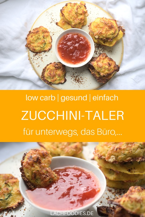 Low Carb Zucchini-Taler. Ein toller Low Carb Snack mit Zucchini für unterwegs. Low Carb Snack unterwegs, Low Carb Snack unterwegs, Herzhafte Low Carb Rezepte für unterwegs. Gesunder Snack Büro. Low Carb für das Büro, gesunde Lunchbox oder schnelles Mittagessen, kohlenhydratfrei.