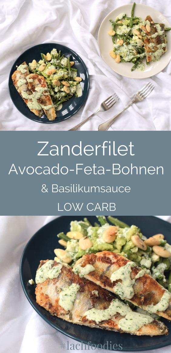 Rezept Zanderfilet auf Avocado-Feta-Bohnen Low Carb