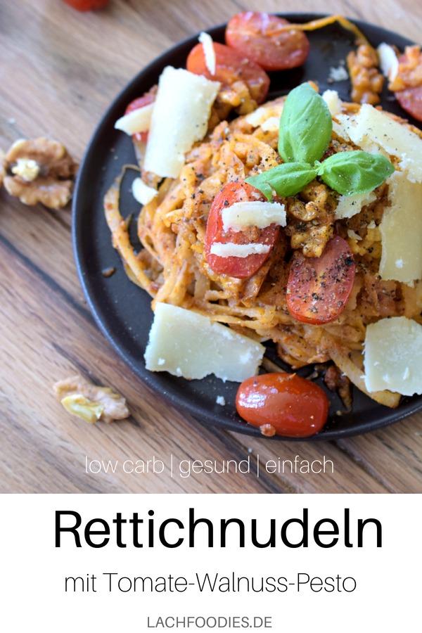 Rettichnudeln mit Allos Hof-Pesto Tomate-Walnuss