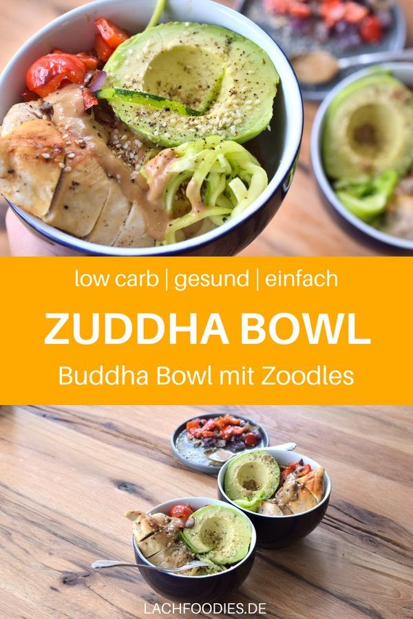 Weißt du, was eine Zuddha Bowl ist? Hier findest du ein leckeres Rezept mit Zoodles, Huhn und Paprika aus dem Ofen. Dieses Zudel Rezept ist ideal für ein gesundes Abendessen oder ein Low Carb Mittagessen. Lass dir diese Buddha Bowl mit Zoodles schmecken! #rezept #gesundkochen #lowcarbrezept #zoodles #gemüsenudeln #lachfoodies