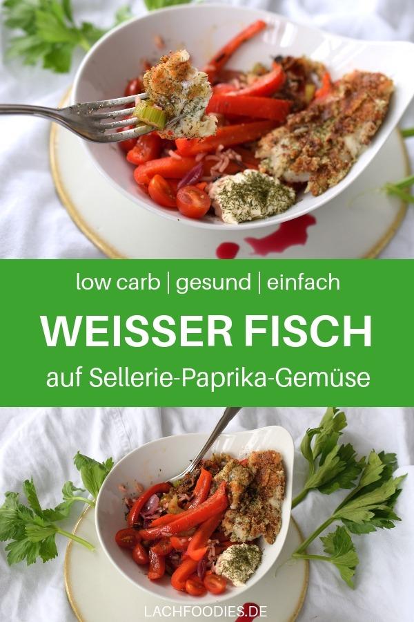 Ein unglaublich leckeres Low Carb Rezept für jeden Tag: Weißer Fisch mit Paprika, Sellerie und Tomaten. Dazu gibt es ein leckeres Granatapfeldressing. Lass es dir den Low Carb Fisch mit Gemüse. Ein unkompliziertes, gesundes Rezept für jeden Tag. #lachfoodies #lowcarbrezept #gesundkochen #fitgesundundglücklich #Fische