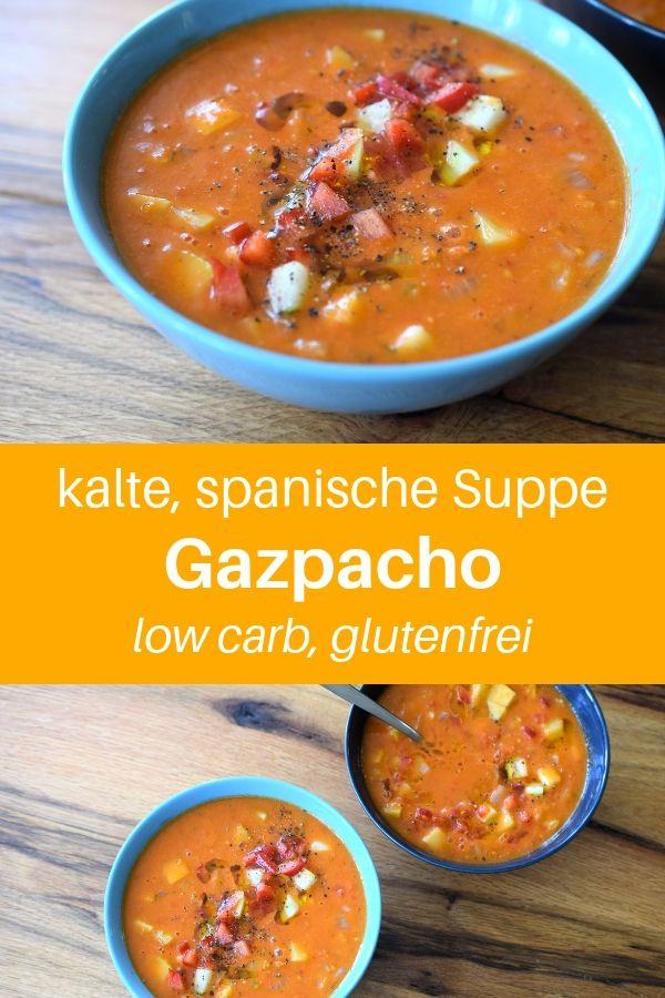 Hast du schon einmal diese köstliche, kalte Gemüsesuppe probiert? Die Gazpacho-Suppe ist ein spanisches Gericht - ein ideales Rezept für heiße Tage. Hier findest du ein einfaches Gazpacho-Rezept für eine Gazpacho Suppe schnell gemacht, aber ziemlich lecker. Das Rezept ist glutenfrei und daher ist das eine Gazpacho ohne Brot, bzw. low carb Gazpacho. Lass es dir schmecken. #lowcarbrezept #suppe