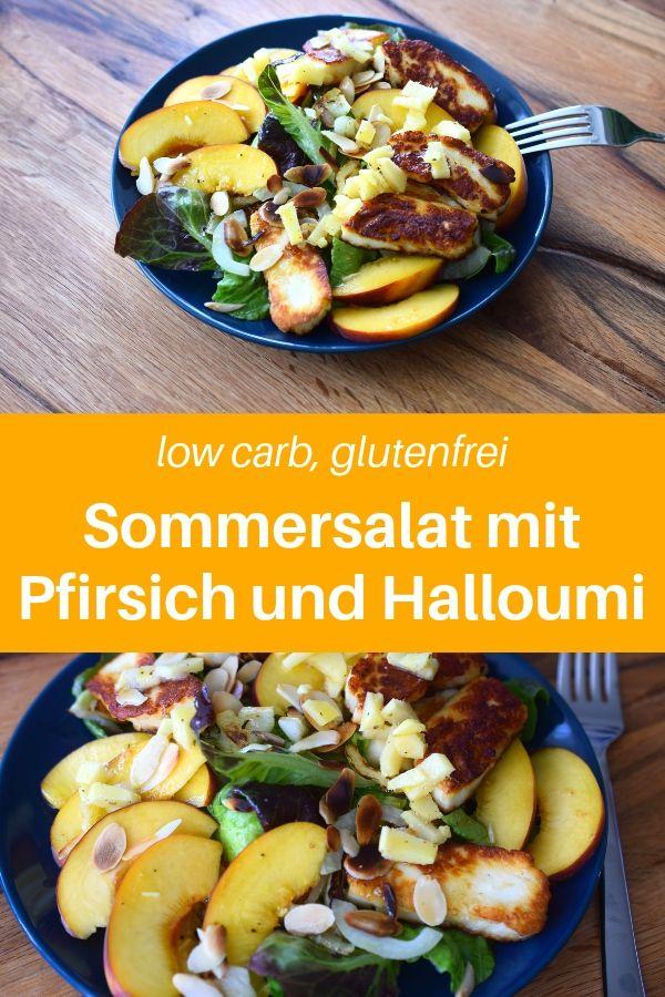 Hast du Lust auf einen leckeren Sommersalat? Hier findest du ein himmlischen Salatrezept, um gesund zu essen. Gesunde Ernährung leicht gemacht. Dieser Salat ist eines der Salat-Rezepte, die im Sommer einfach wunderbar schmecken. Mit Halloumi, Pfirsich und gerösteten Mandeln wird dieser Low Carb Salat zu etwas ganz Besonderen. Gesunde Rezepte zum abnehmen. Wenn du Halloumi-Rezepte suchst, dann ist das genau das richtige für dich. Lass es dir schmecken. #salat #gesunderezepte
