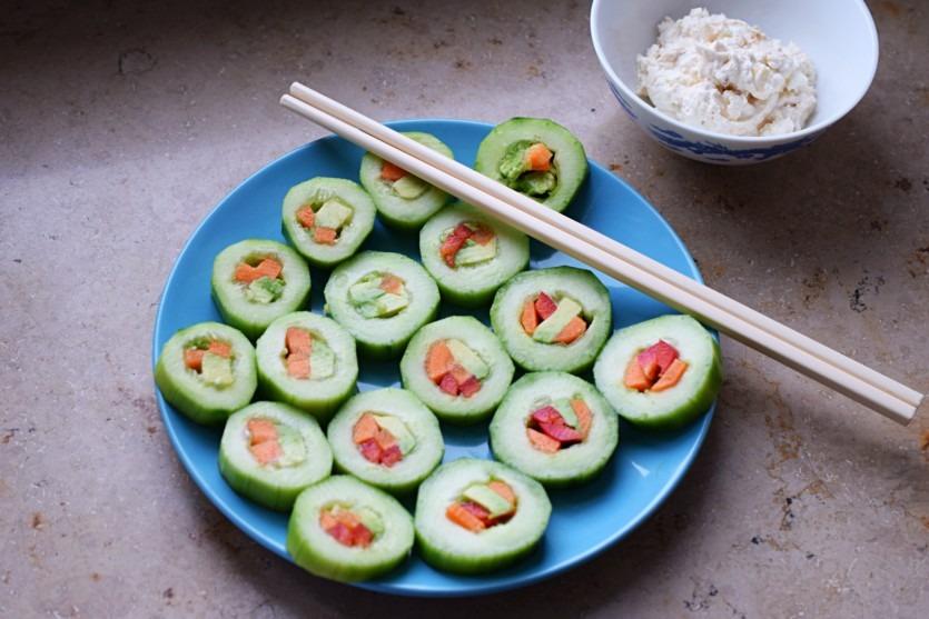Gurken Sushi Rezept vegetarisch ohne Kohlenhydrate