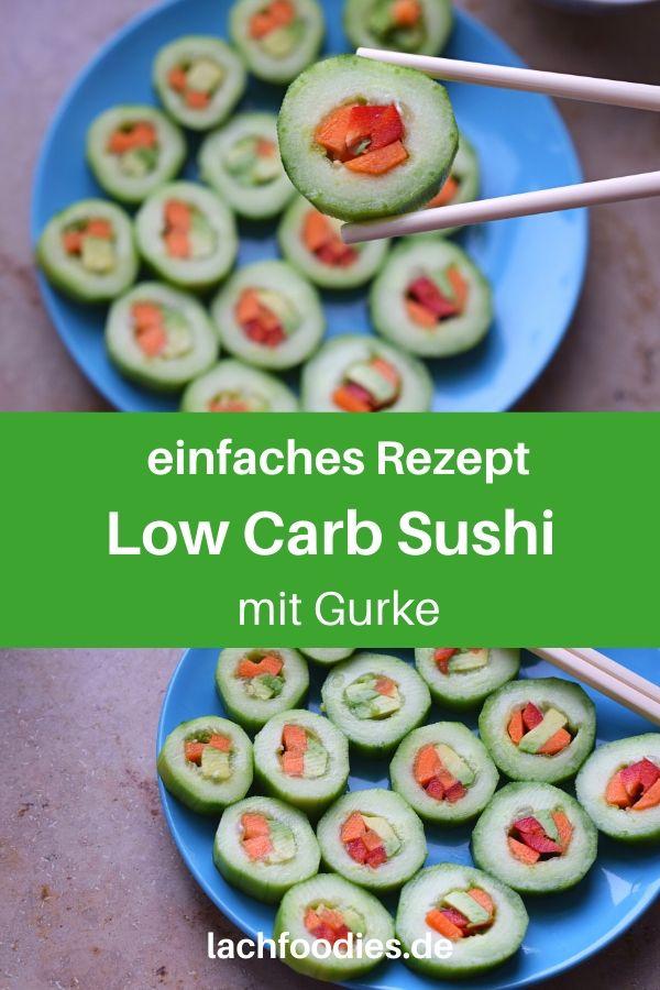 Bist du auf der Suche nach einem leckeren Sushi-Rezept? Hier findest du ein vegetarisches Sushi-Rezept ohne Kohlenhydrate. Das ist ein einfaches Rezept für gesundes Fingerfood, einen low carb Snack salzig, bzw. eine kreative Vorspeise. Statt Gurkensalat kannst du diese Gurken-Häppchen zubereiten. Lass es dir schmecken. Low Carb Fingerfood-Rezepte kalt. #lowcarbrezepte #gurke #gesundkochen